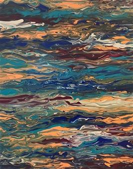 Deeya Mirchandani - While We're Floating Acrylic on Canvas, Paintings