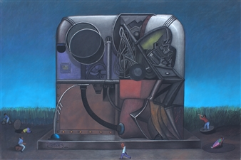 Pedro Vargas - Machine to Travel to the Center of the Universe Pastel on Paper, Paintings