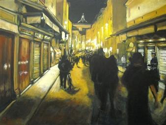 Emanuele Biagioni - Passeggiando su Ponte Vecchio Acrylic on Canvas, Paintings