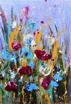 Rine Philbin - 'Jump for Joy' - Field Flowers Acrylic on Canvas, Paintings