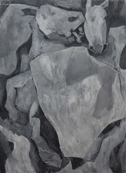 Khac Cuong Le - Horses Oil and Gouache on Canvas, Paintings