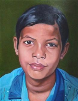 Takumi Kata (TAKU) - A Boy Selling Chai Acrylic on Canvas, Paintings