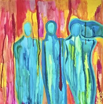 Sierra Barnes - Journey Watercolor on Canvas, Paintings