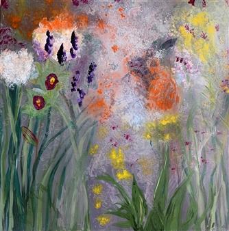 Jodi DeCrenza - Fleurs Sauvages (Wild Flowers) Acrylic on Canvas, Paintings