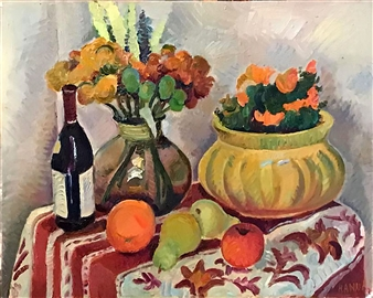 Hana Vater - Still Life with Fruits Oil on Canvas, Paintings