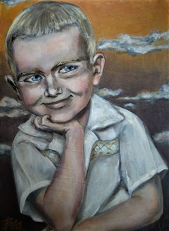 Clara de Bobes - Little Michael with Clouds in the Horizon Oil on Paper, Paintings