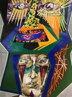 Michael Dolen - Circus Performer in Transition 874J Mixed Media on Paper, Mixed Media
