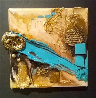 Zaineb Shaban - Meteor 3D Mix Technic, Acrylic, Modeling Paste, Resin & Golden Leaf, Mixed Media