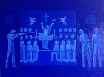 Mario España - Monseñor Romero Assassination Oil on Canvas, Paintings
