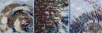 Barbara Wykrota - Dans la Neige, triptych Acrylic on Canvas, Paintings