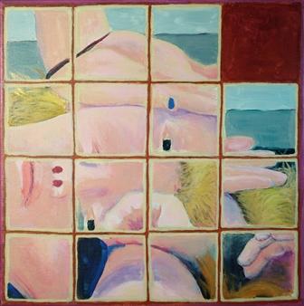 Martin Randall Joyce - Fifteen Puzzle: Recumbent Girl #2 Acrylic on Canvas, Paintings