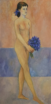 Stefano Puleo - Model with Blue Flowers Oil on Linen, Paintings
