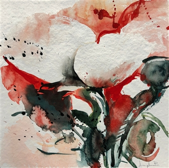 Angela Blattner - Poppy Flowers 4 Watercolor on Paper, Paintings