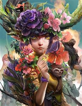 Han-Yuan Yu - The Flower Spirit Digital Print on Canvas, Digital Art