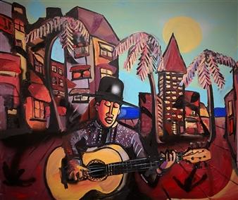 Erik Neimeijer - While my Guitar Gentle Weeps Acrylic & Airbrush on Linen, Paintings