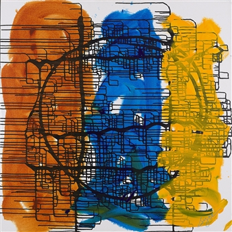 David Syre - Three Friends Acrylic on Canvas, Paintings