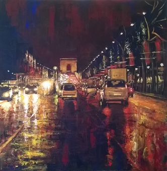 Emanuele Biagioni - Natale a Parigi Acrylic on Fabric, Paintings