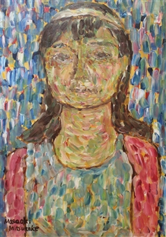 Masaoki Mitsutake - A Woman Above Her Chest No.2 Oil on Canvas, Paintings