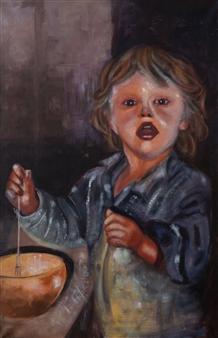 Britt-Marie Tidemand - Baking Son Oil on Canvas, Paintings