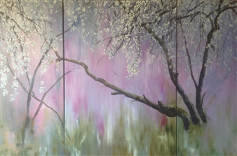 Lizzy Forrester - Cascading Blossom (triptych) Oil on Canvas, Paintings