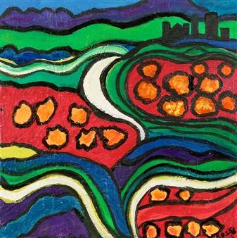 Linda Rosen - Blue Ridge Mountains Acrylic on Canvas, Paintings