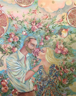 Teona Titvinidze-Kapon - Pomegranate Garden Acrylic & Crystals on Canvas, Mixed Media