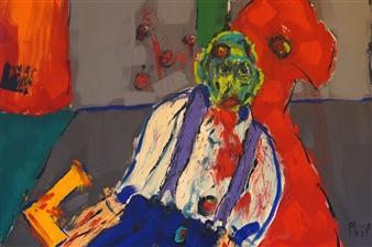 Philippe Thélin - The Crime Scene Acrylic on Canvas, Paintings