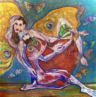 Hector Anchundia - En el Paraíso Acrylic on Canvas, Paintings