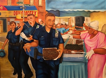 Herold Patrick Alexis - No Donuts Here Oil on Canvas, Paintings