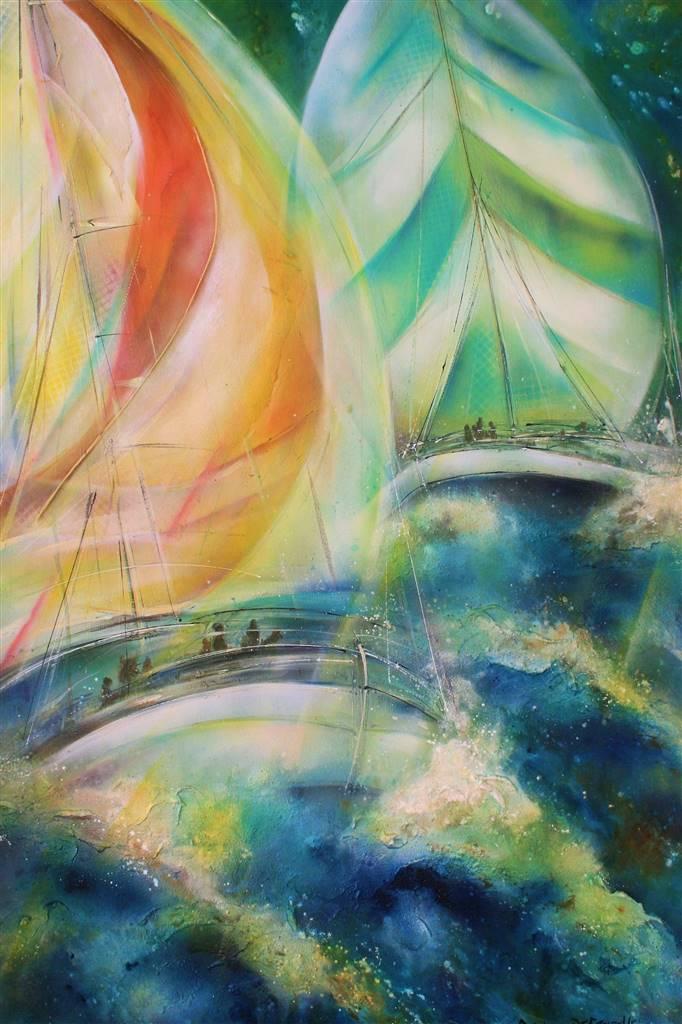 Caroline Degroiselle Marine Duet In Emerald Elation Acrylic On Canvas Paintings