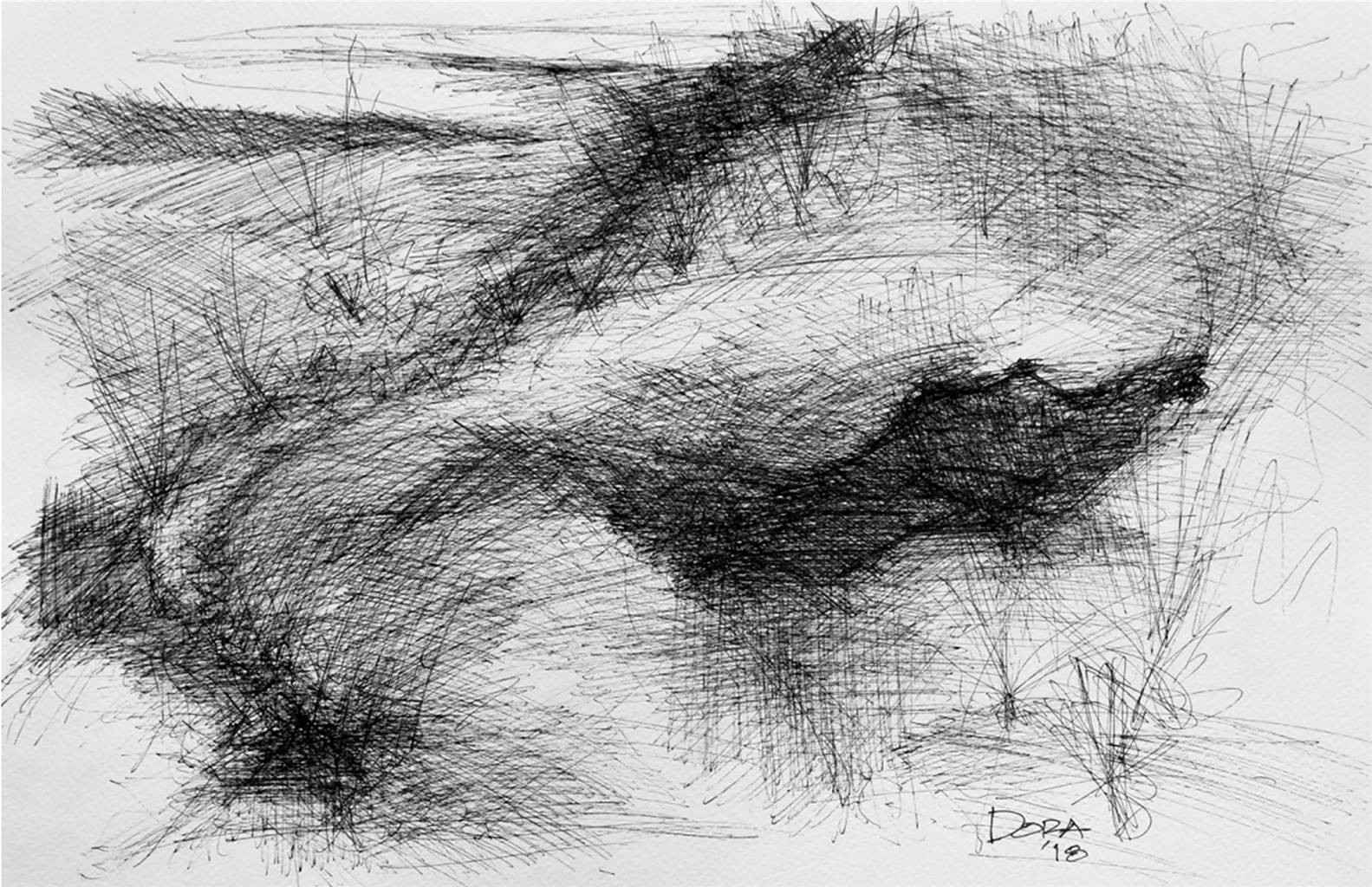 Vasant dora landscape abstract 2 pen and ink on paper drawings