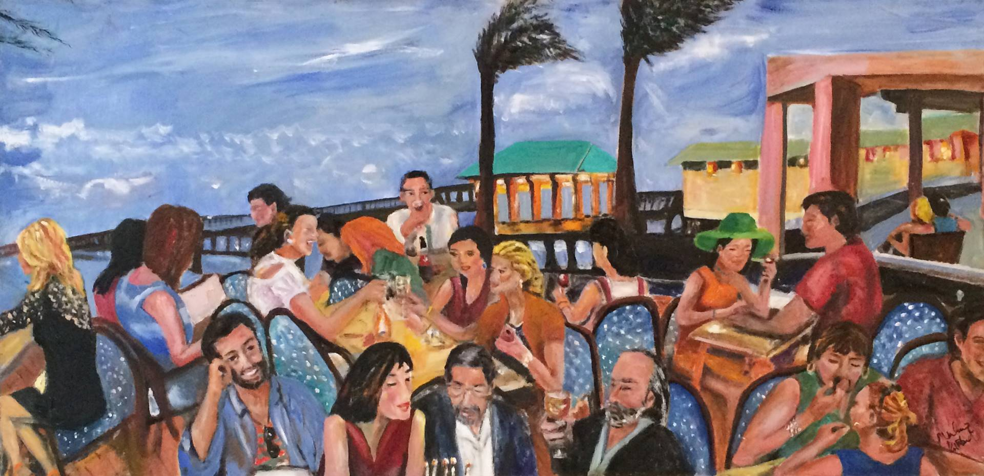 Marlene Kurland   Beach Dining In Ft Lauderdale Oil On Canvas, Paintings ...
