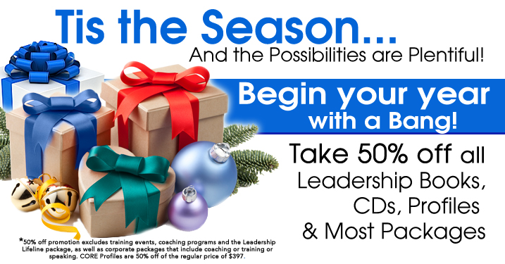 50% OFF Year End Sale on all Leadership Books, Audios, and Profiles. Become a better leader with this rare year end close out on leadership training materials.