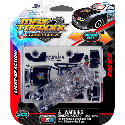 Max Traxxx Marble Racers light up police