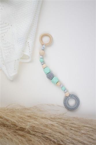colgante crochet gris silicon menta