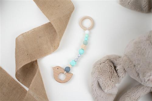 colgante pajaro silicon turquesa crochet menta