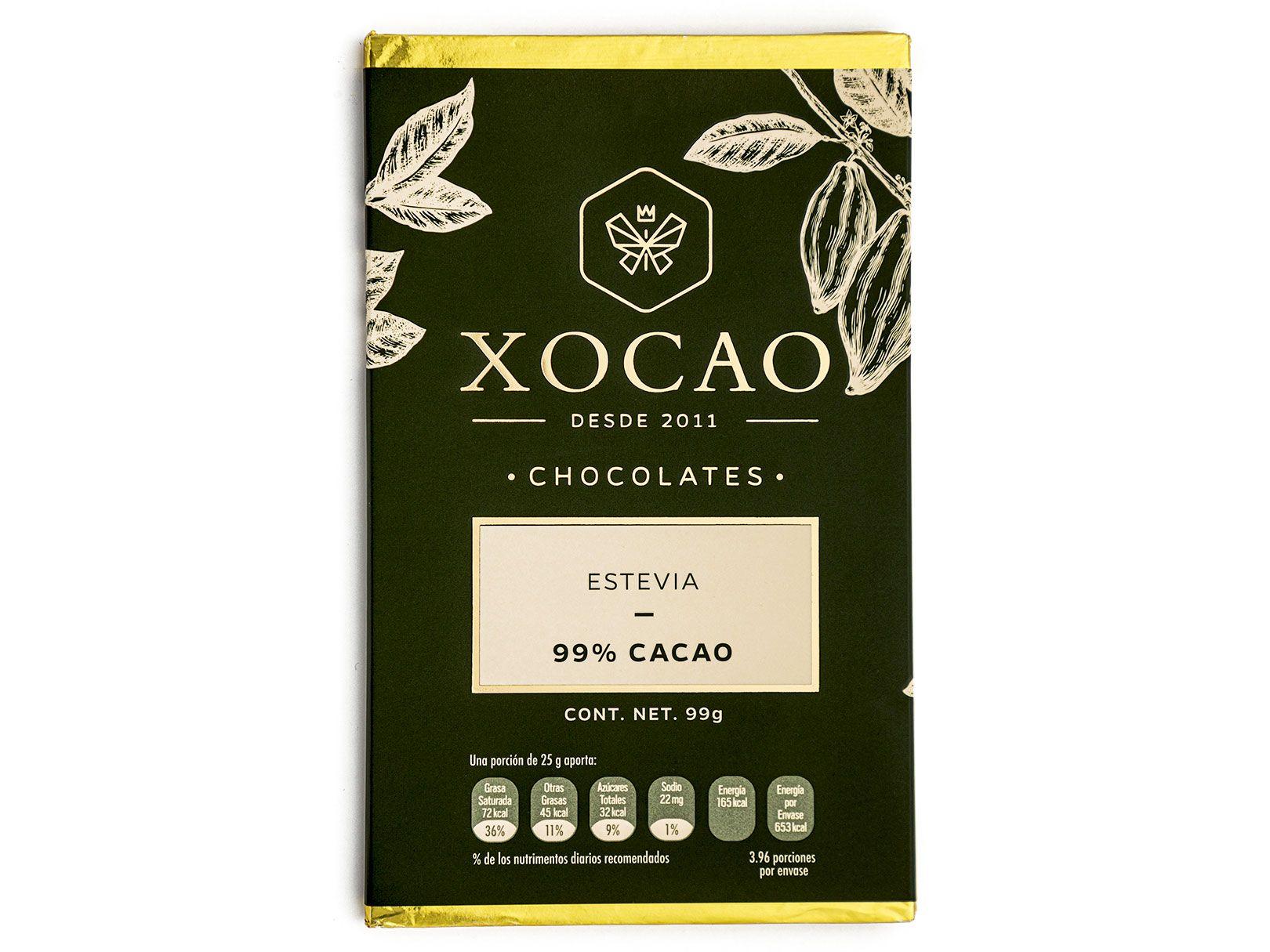 BARRA DE CHOCOLATE DE ESTEVIA Y 99% DE CACAO