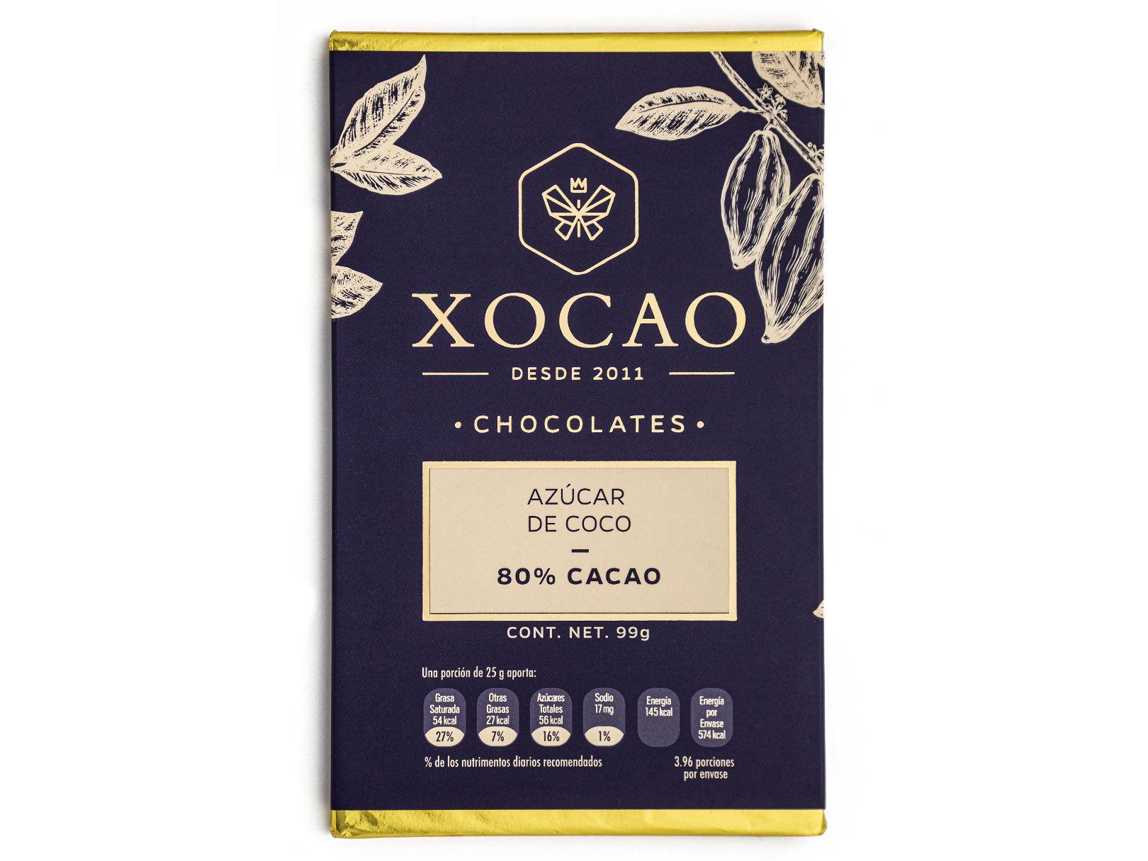 BARRA DE CHOCOLATE DE AZUCAR COCO CON 80% DE CACAO