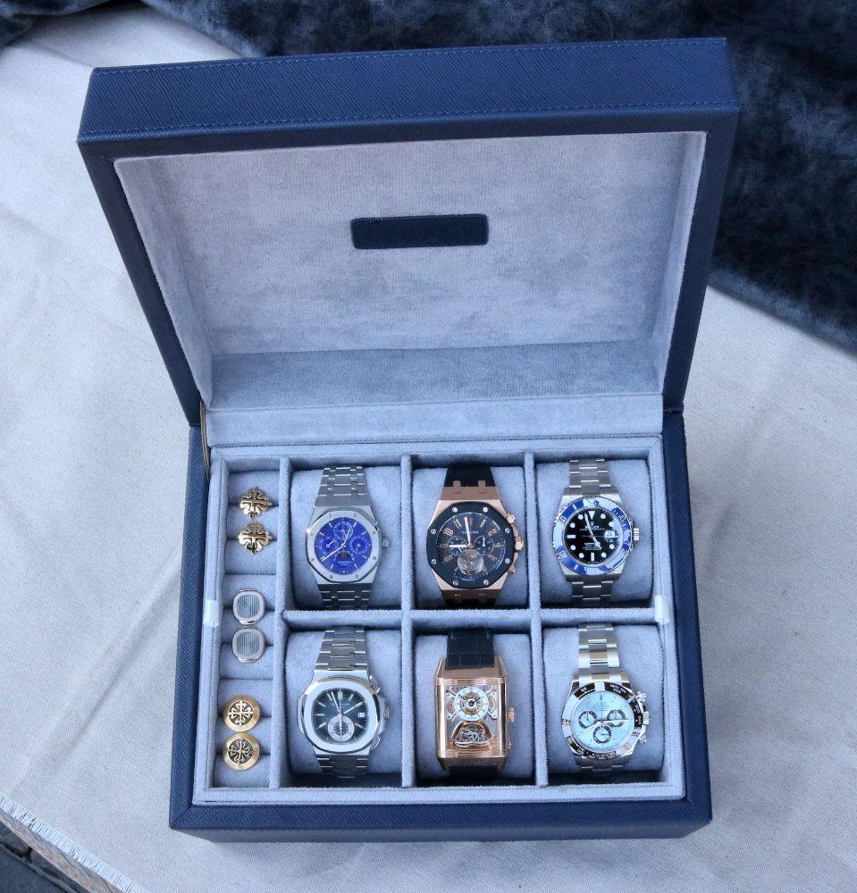 Estuche Hudson para 6 relojes y accesorios en piel