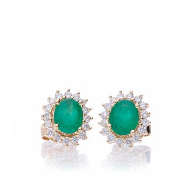 Aretes Esmeralda y Diamantes 1.11ct.