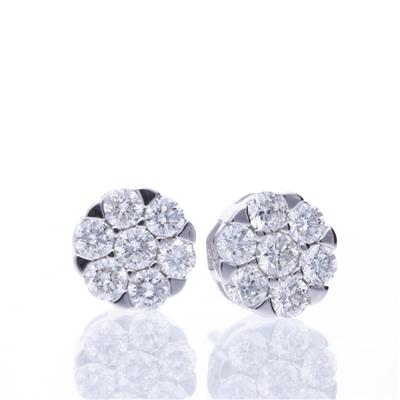 Aretes Cluster Diamantes 1.02ct.