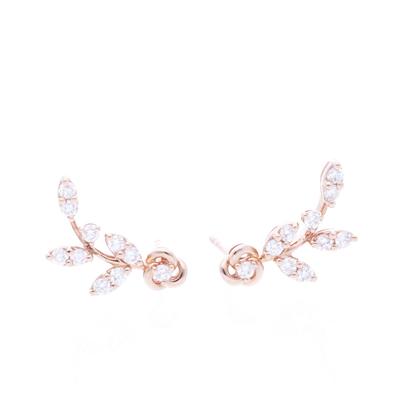 Arete Flor Diamantes Oro Rosa 0.64ct.