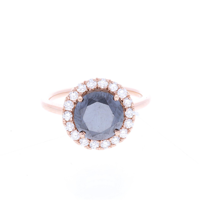 Anillo diamante negro 1ct. con halo de diamantes