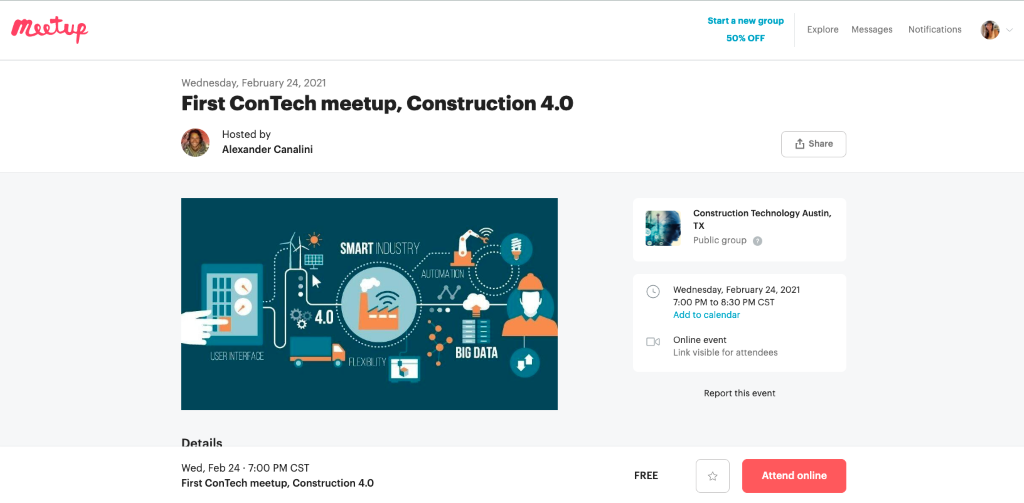 Attend local meetups to find free construction leads
