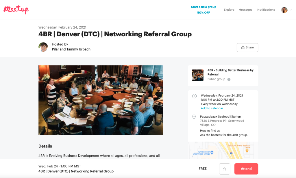 Finding construction leads at meetup example 2