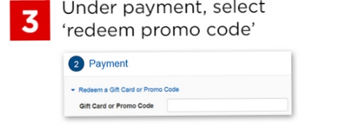 Select redeem a promo code and paste code