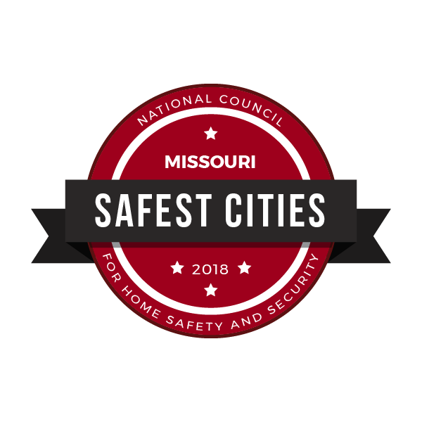safest cities Missouri badge 2018