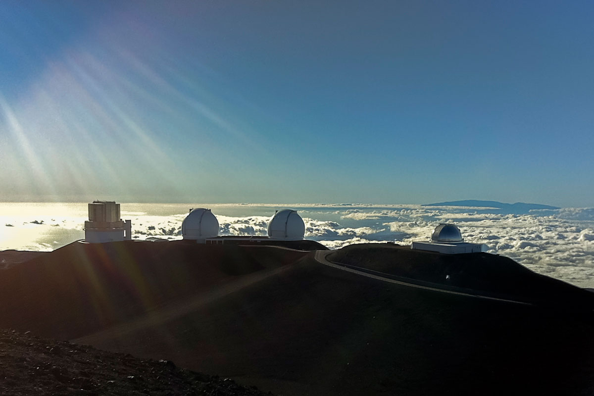 Observatories sit atop Mauna Kea on the Big Island of Hawaii.
