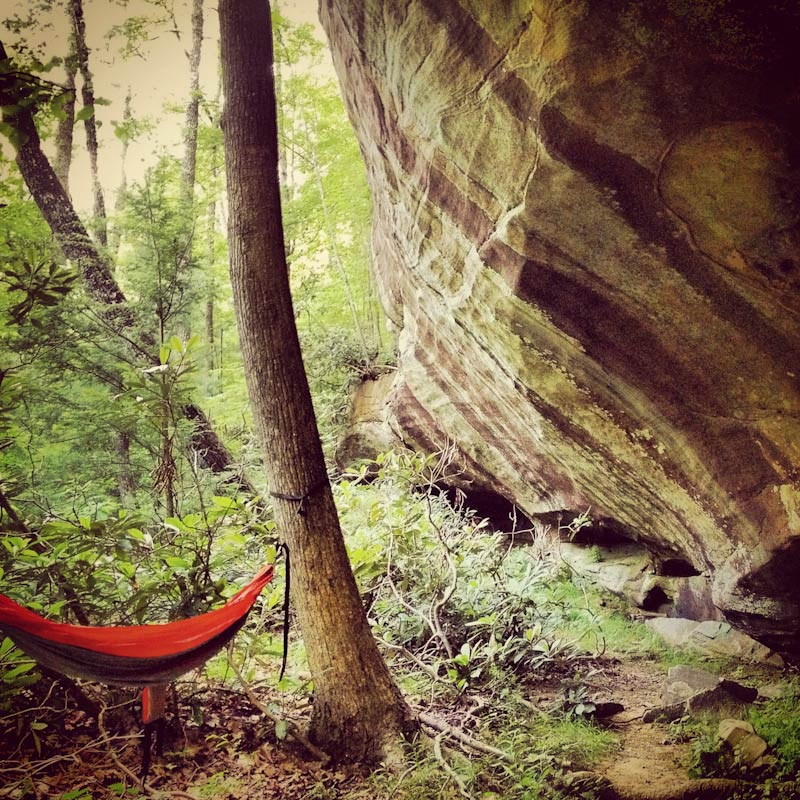 Afternoon nap in my hammock at a cliff