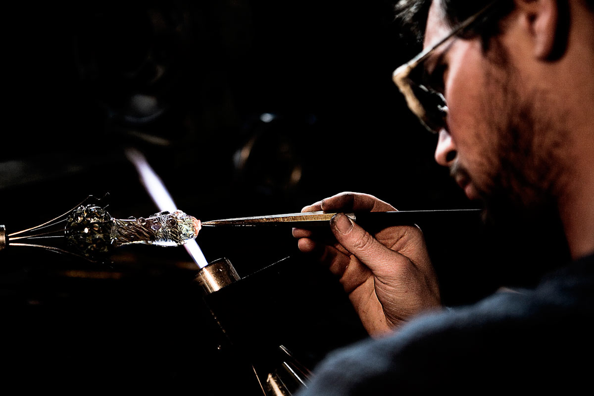 Jamie Lang | Lang Art Glass | Working on a smoking pipe.